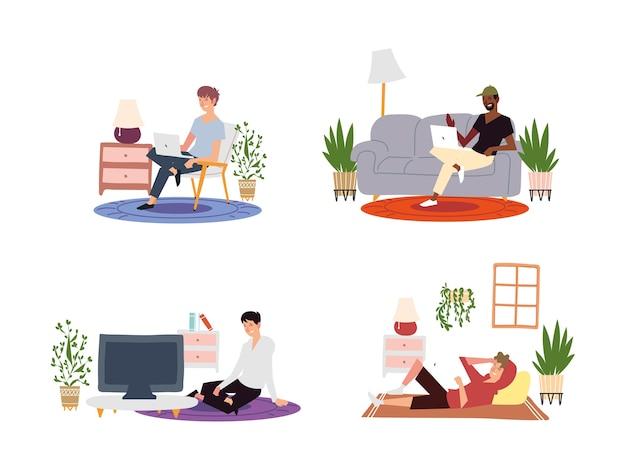 Satz verschiedene männer mit laptop-computer, die innenaktivitäten arbeiten oder liegen