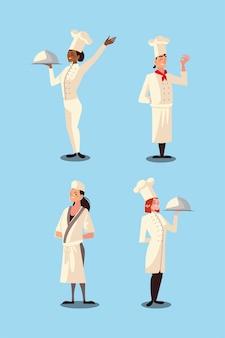 Satz verschiedene männliche und weibliche köche arbeiten professionelle restaurantvektorillustration