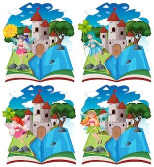Satz verschiedene märchen und schlossturm auf pop-up-buchkarikaturstil lokalisiert auf weißem hintergrund
