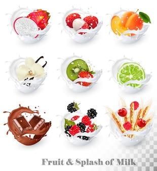 Satz verschiedene milchspritzer mit früchten, nüssen und beeren. litschi, erdbeere, himbeere, brombeere, aprikose, heidelbeere, limette, kiwi, vanille, drachenfrucht. vektor-set.