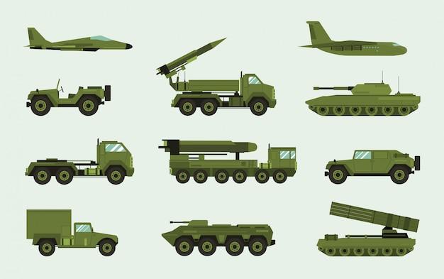 Satz verschiedene militärische transportmittel. moderne ausrüstungssammelkampfmaschine, luftverteidigung, auto, lkw, panzer, gepanzerte fahrzeuge, artilleriegeschütze. illustration im flachen stil