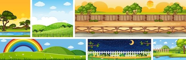 Satz verschiedene naturplatzszenen in vertikalen und horizontszenen bei tag und bei nacht