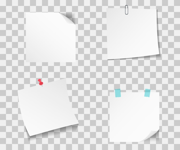 Satz verschiedene papiernotizen. haftet notizpapier mit pin. sammlung von klebrigen papieren mit stecknadeln und klebeband zeigen