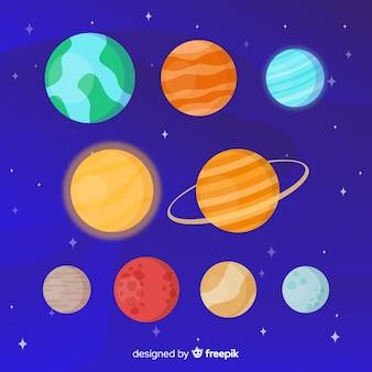Satz verschiedene planetenaufkleber