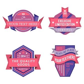 Satz verschiedene rosa violette farblogoaufkleber des vektordesigns und weinleseart-ausweisfahnen