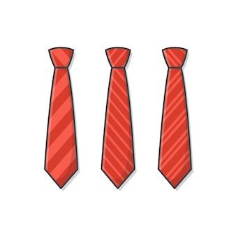 Satz verschiedene rote krawatten-symbol-illustration. männliche krawatte, männer fashion style trend. krawatte flat icon. gestreifte krawatten-illustration