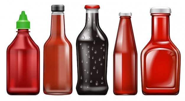 Satz verschiedene soßeflasche