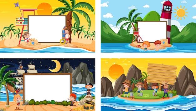 Satz verschiedene tropische strandszenen mit leerem banner