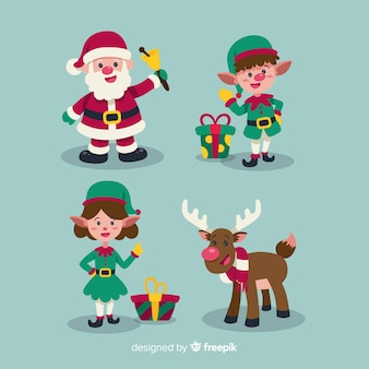 Satz verschiedene Weihnachtselemente im flachen Design