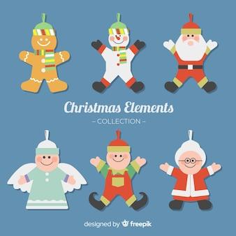 Satz verschiedene Weihnachtselemente in der flachen Art
