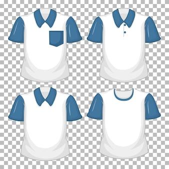 Satz verschiedene weiße hemd mit blauen kurzen ärmeln lokalisiert auf transparentem hintergrund