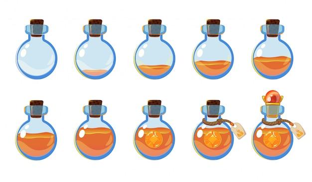 Satz verschiedene zustände der flasche mit orangenelixier und -edelstein.