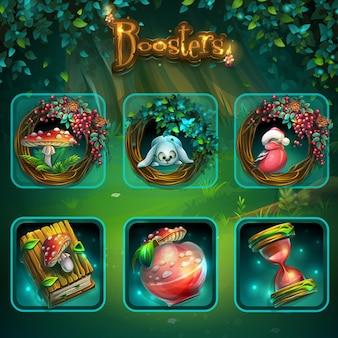 Satz verschiedener elemente für die benutzeroberfläche des spiels. hintergrund-illustrationsbildschirm zum computerspiel shadowy forest gui.