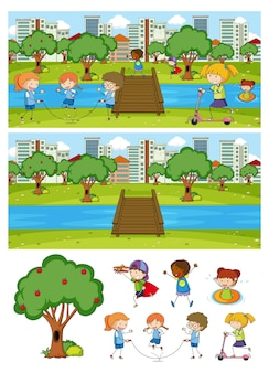 Satz verschiedener horizontaler szenenhintergrund mit gekritzelkinderzeichentrickfilm-figur