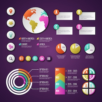 Satz verschiedener infografik-elemente