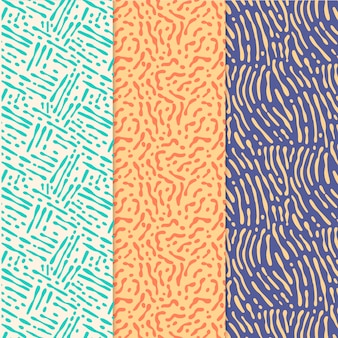 Satz verschiedenfarbige muster mit abgerundeten linien
