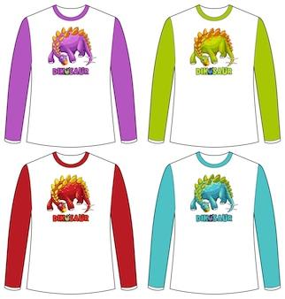 Satz verschiedenfarbiger dinosaurier-bildschirm auf langarm-t-shirt