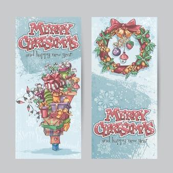 Satz vertikale banner mit dem bild der weihnachtsgeschenke, garla