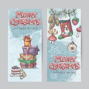 Satz vertikale weihnachtskarten mit taschenlampen, glocken und geschenk