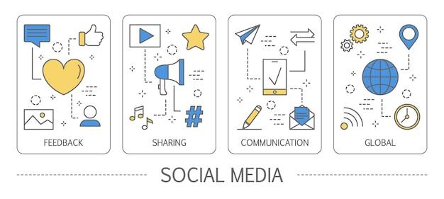 Satz vertikaler banner der sozialen medien
