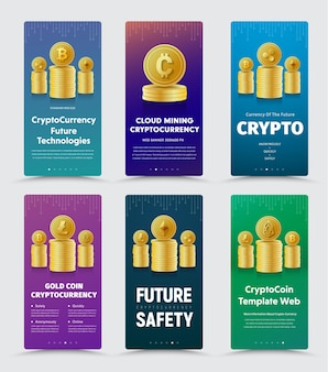 Satz vertikaler banner für kryptowährung mit verschiedenen goldmünzen.