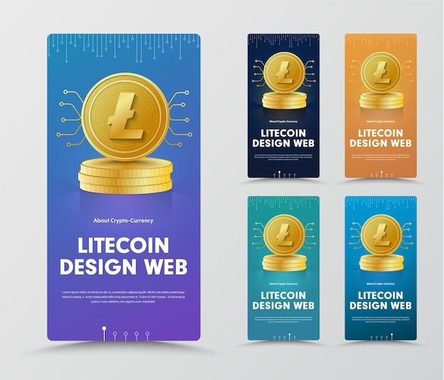 Satz vertikaler banner mit einer goldmünze aus kryptowährung und einem chip.