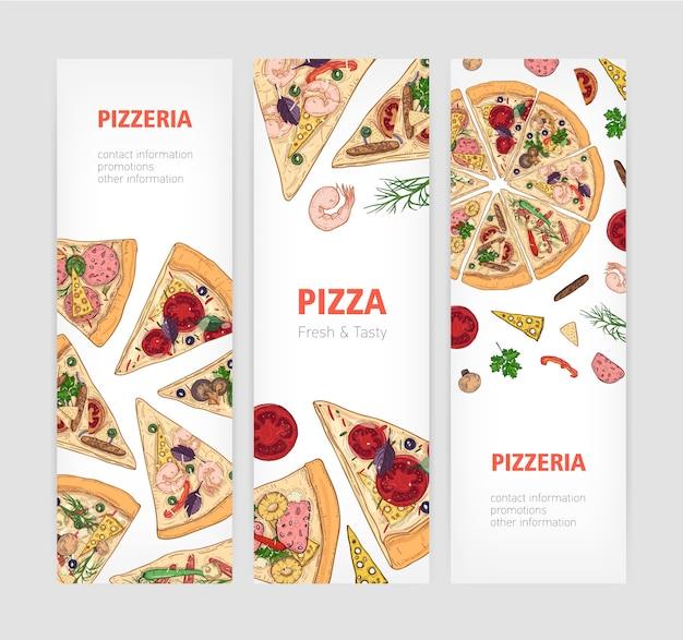 Satz vertikaler bannervorlagen mit appetitlicher klassischer pizza, die in scheiben geschnitten wird