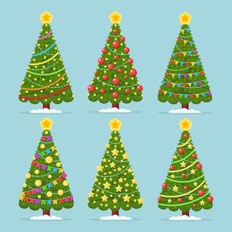 Satz verzierter weihnachtsbaum mit stern, lichtern, dekorationskugeln. frohe weihnachten und ein gutes neues jahr konzept