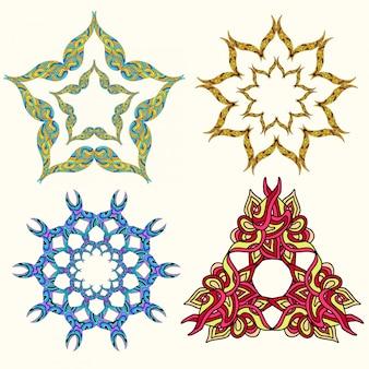 Satz verzierungsmehrfarbenmandalen. vintage dekoratives element.