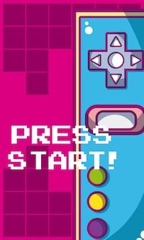 Satz videospiel und konsolenvektor-illustrationsgrafikdesign
