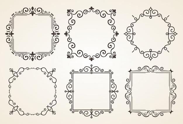 Satz viktorianische weinlese-dekorations-elemente und rahmen