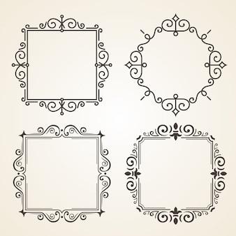 Satz viktorianische weinlese-dekorations-elemente und rahmen.