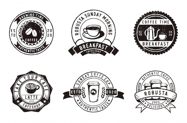 Satz vintage-abzeichen kaffee, café und embleme