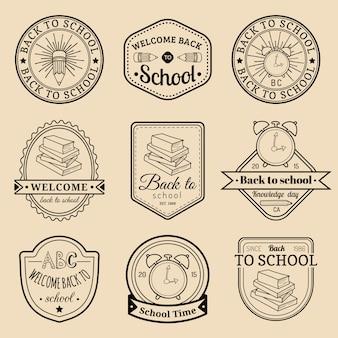 Satz vintage back to school-etiketten. retro zeichen, ikonensammlung mit pädagogischen ausrüstungen. designkonzepte für den wissenstag.