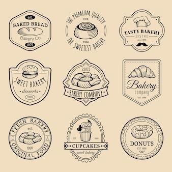 Satz vintage bäckerei logos. retro emblems sammlung. hipster-gebäckikonen. wüstenelemente.