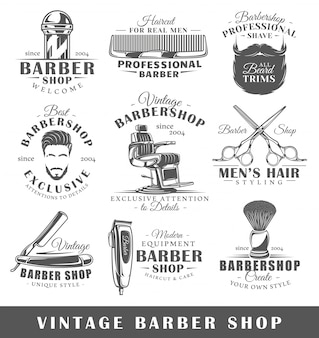Satz vintage barbershop etiketten