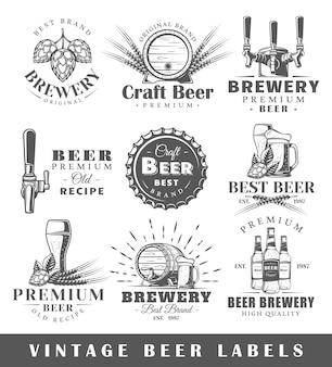 Satz vintage bieretiketten