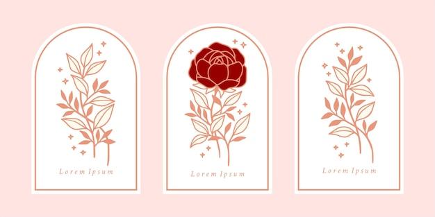 Satz vintage botanische rosa rose, pfingstrosenblume und blattelemente für schönheitsmarke oder blumiges weibliches logo