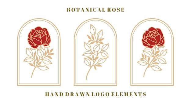 Satz vintage botanische rosenblume und blattelement für weibliches schönheitslogo und marke