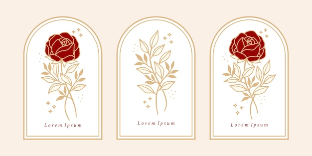 Satz vintage botanische rosenblume und blattzweigelement für weibliches logo und schönheitsmarke