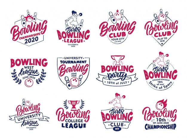 Satz vintage bowling embleme und briefmarken. bunte abzeichen, vorlagen, aufkleber