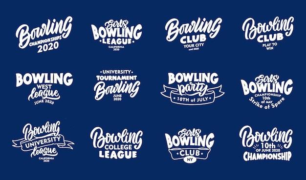Satz vintage bowling phrasen. weiße embleme, abzeichen, vorlagen, aufkleber