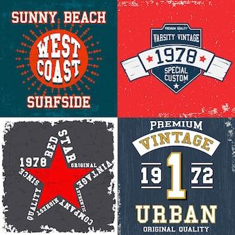 Satz vintage-designdruck für t-shirt-stempel