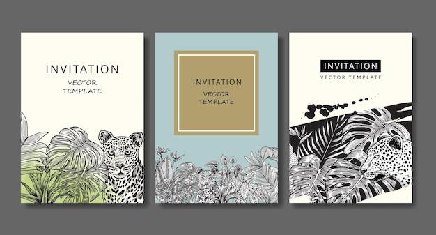 Satz vintage-einladungskarten mit leoparden und tropischen pflanzen. zeichnung gravur.