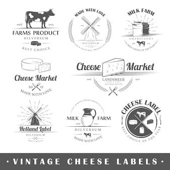Satz vintage etiketten käse