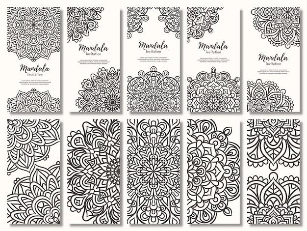 Satz vintage-hochzeitseinladungskarte mit floralem mandala-design, mandala-hochzeitseinladung