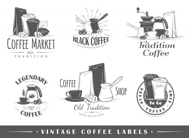 Satz vintage kaffeelogos