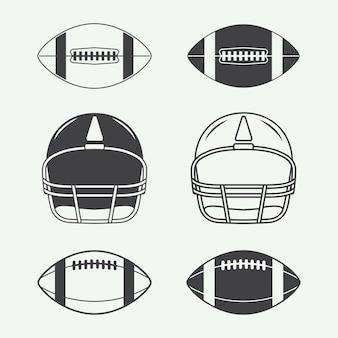 Satz vintage rugby- und american-football-labels