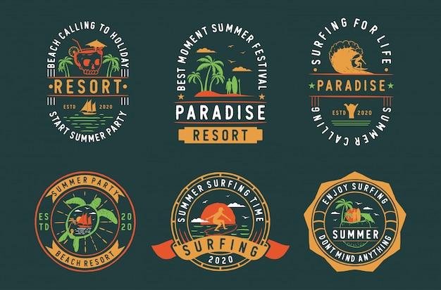 Satz vintage sommerabzeichen etiketten, embleme und logo