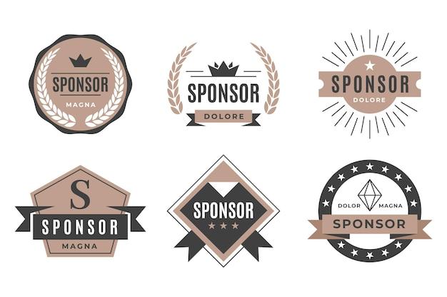 Satz vintage sponsor abzeichen
